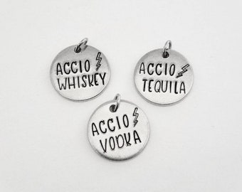 ACClO Booze Handstamped Necklace | Liquor | Alcohol | Wizard Spell | Funny Gift | Pendant Jewelry | Whiskey | Tequila | Vodka | Marauders |