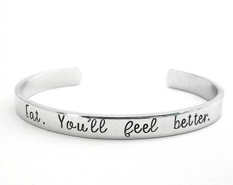 Professor Lupin Quote Cuff Bracelet | Hand Stamped | Eat. You'll Feel Better | Remus | Wizard |