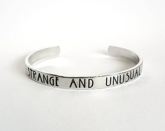 Strange and Unusual | Beetlejuice bracelet | Hand Stamped Cuff | Tim Burton | American Horror Story Font