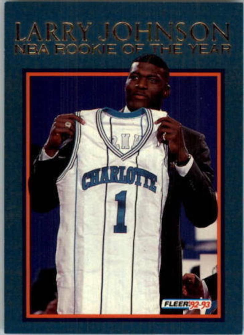 1992 93 Fleer Larry Johnson Rookie Of The Year Charlotte Hornets Basketball Card 1 Mint Condition