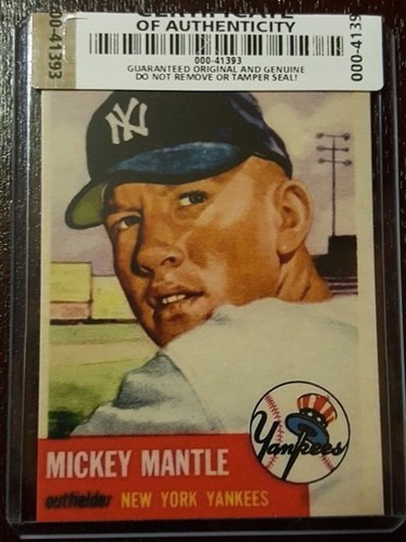 Certified Authentic Reprint Mickey Mantle 1953 Topps82 Cardmint