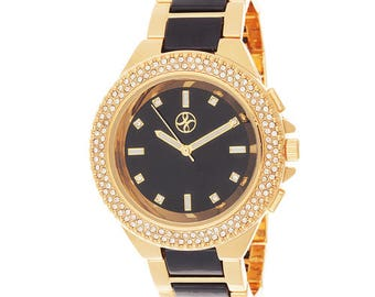 Fortune NYC CZ Gold Alloy Case w/ Stone Embellished Bezel Watch