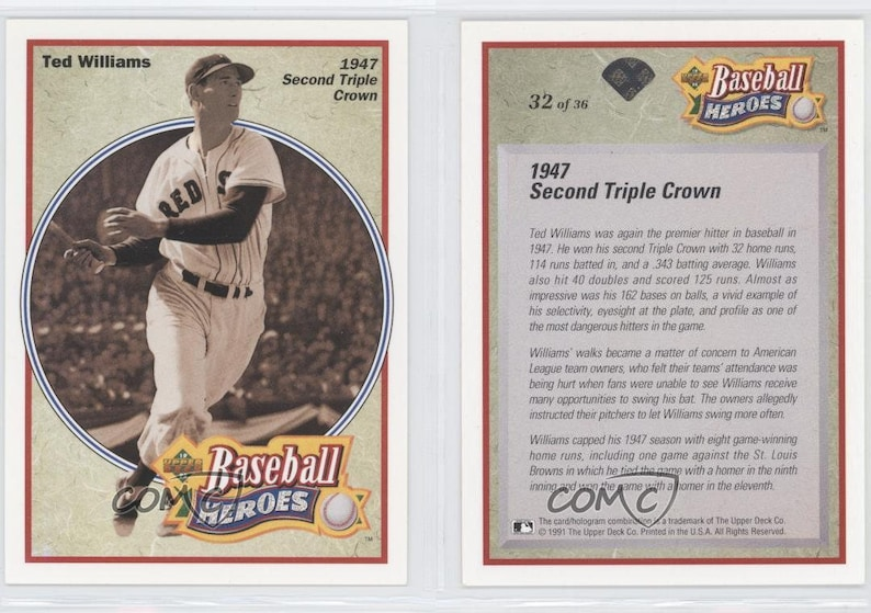 1992 Upper Deck Baseball Heroes Boston Red Sox Ted Williams 17 Card Lot Nrmint