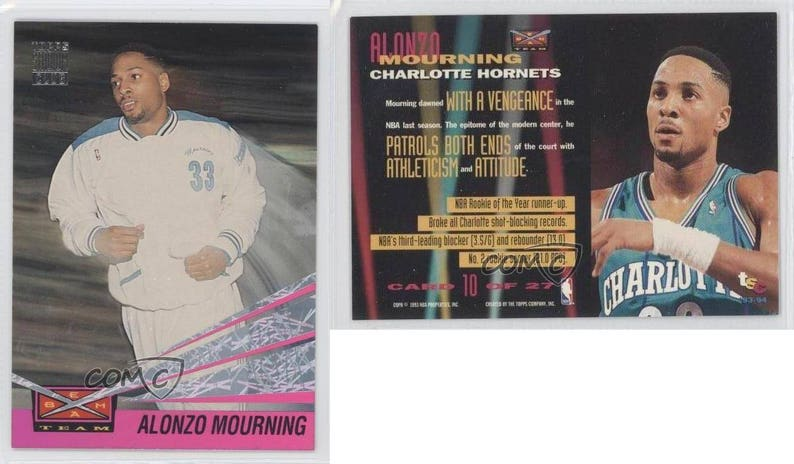 1993 94 Topps Stadium Club Beam Team 10 Alonzo Mourning Charlotte Hornets Card Mint Condition