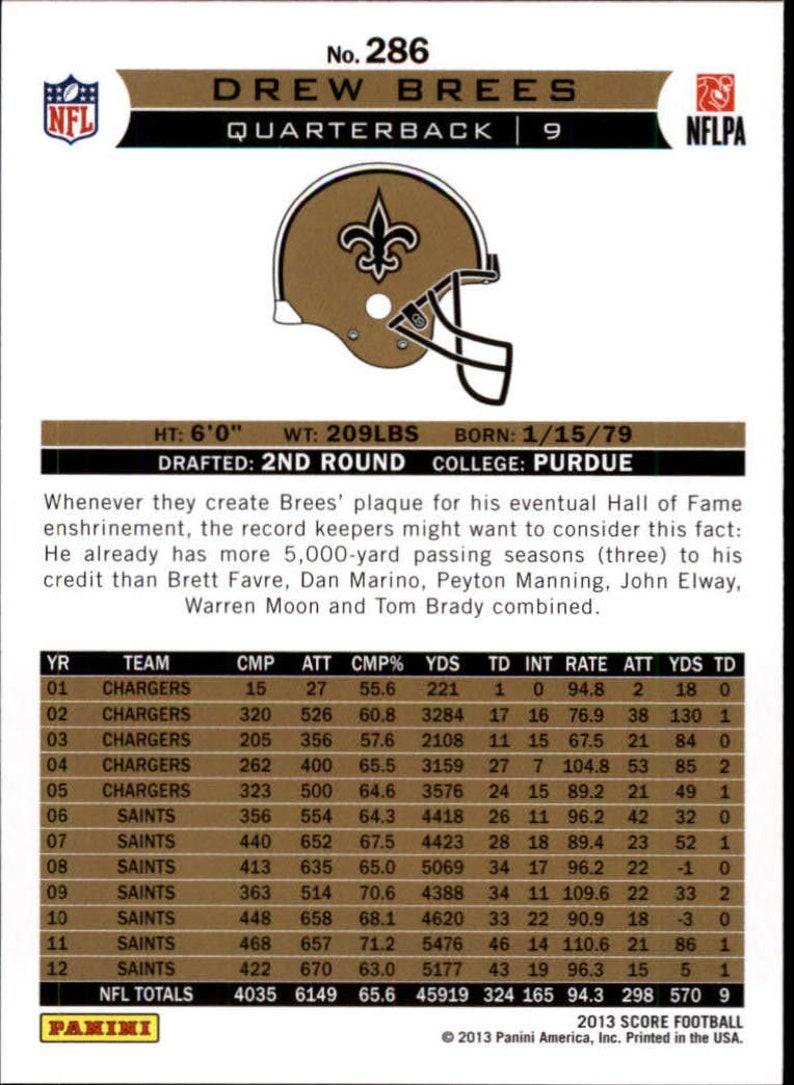QB 2013 Score Franchise Football card # 286 New Orleans Saints Drew Brees