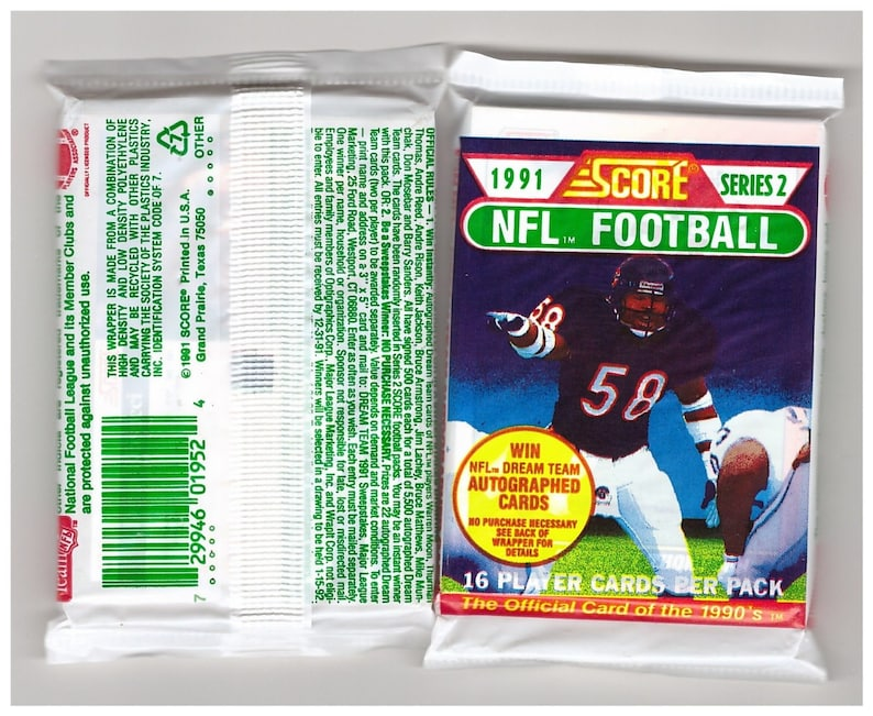 1991 Score Series 2 Football Cards Unopened Packs 6 Packs 96 Cards Total Possible Brett Favre Rookie