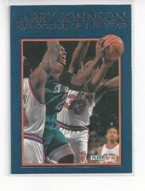 1992 93 Fleer Rookie Of The Year 2 Larry Johnson Hornets Mint Condition