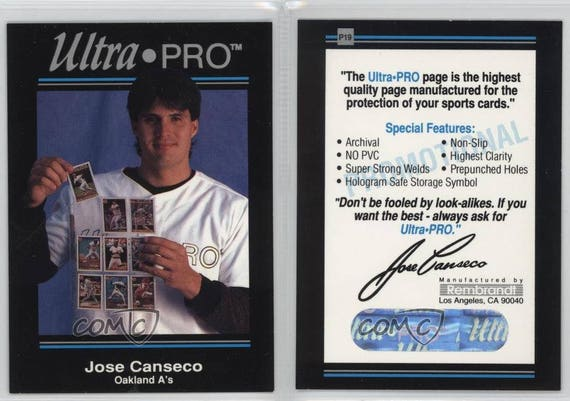 1992 Ultra Pro Page Promos Box Topper P19 Jose Canseco | Etsy