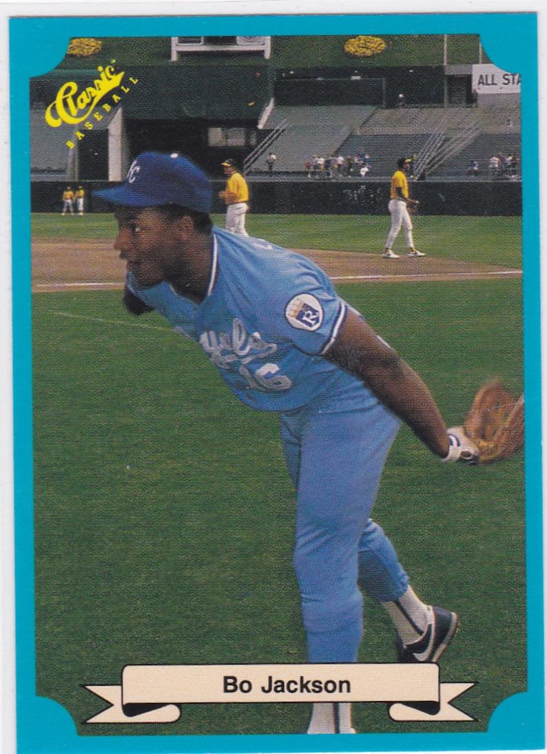 Bo Jackson Kansas City Royals Classic Blue Vintage Baseball Card Raider Football