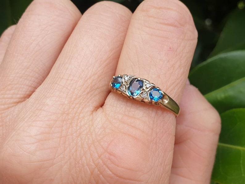 Vintage Topaz and Diamond Ring size T U.S size 9 12