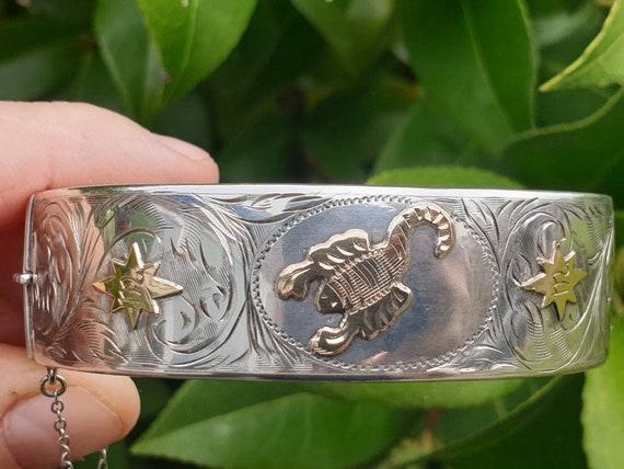 Vintage Gold on Silver Scorpio Bangle 1959
