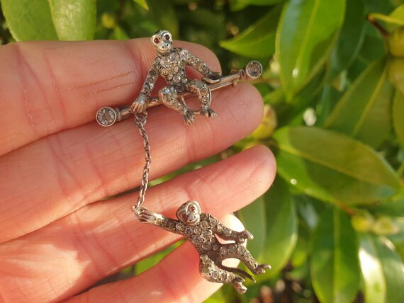 Antique Edwardian Silver Paste Monkey Brooch