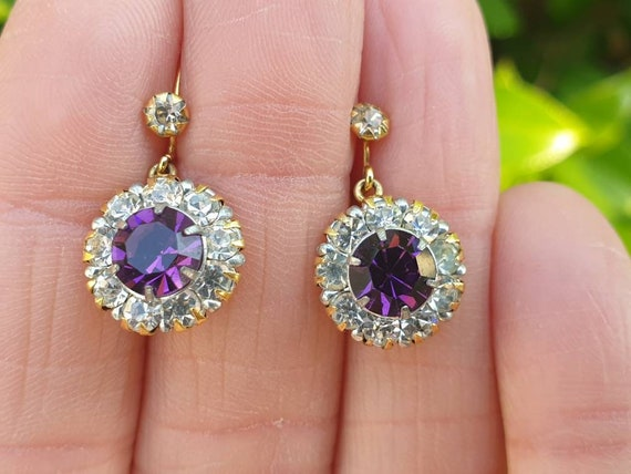 Vintage 9ct Amethyst Paste and Clear Paste Earring