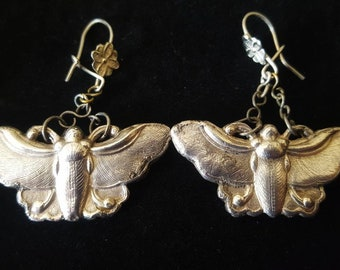 Antique Vintage Moth Earrings Silver Gothic Insect Jewellery
