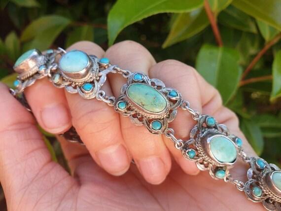 Vintage Hungarian Silver Turquoise Bracelet