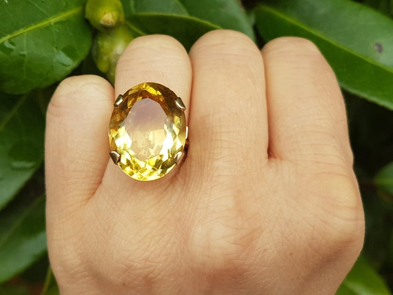 Vintage 1970's 9ct Yellow Gold Huge Citrine Ring s