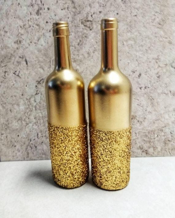 gold glitter wine bottle set of 2 gold centerpiece gold etsy. Black Bedroom Furniture Sets. Home Design Ideas
