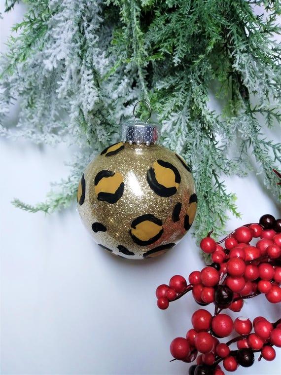 Leopard Weihnachtsschmuck Christbaumschmuck 4 Pack Leopard Etsy