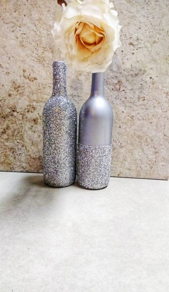 Silver Centerpieces Set of Two Wine Bottle Decor Wedding | Etsy