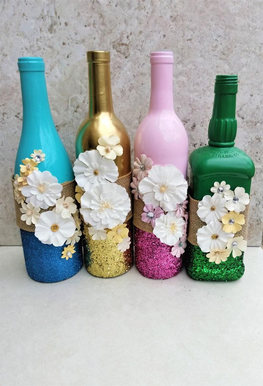 Centerpiece With Flowers Spring Wine Bottles Flower Decor Etsy