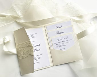 "Lace Pocket fold Wedding invitations ""The Marie Suite"""