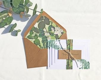 "Wedding Invitation Greenery 4 piece Set ""The Hannah"" - Green leaves and Kraft brown"