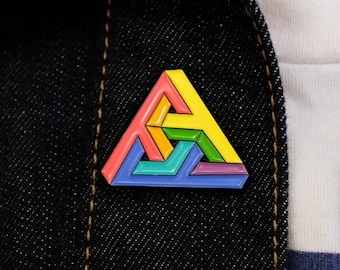 Impossibly Queer Triangle Pin | Impossible Triangle Pride Enamel Pin Series | Subtle minimal lgbt queer gifts, pride lapel pin badges