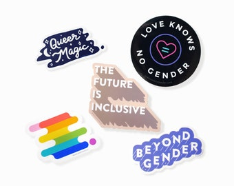 LGBTQ+ Pride Sticker Pack | Subtle minimal lgbt queer gifts, pride laptop stickers