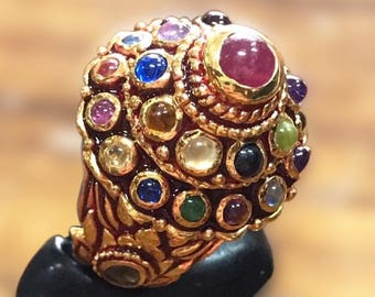 Unique Handmade Natural Fancy Gemstones 925 Sterling Silver Ring Asian Old Style