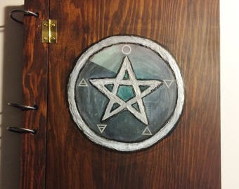 Vintage wooden Book of Shadows journal