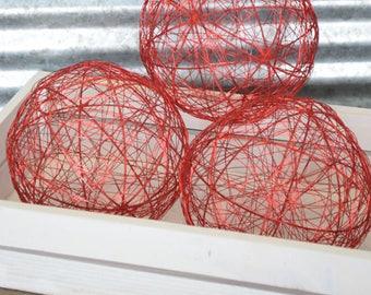 Dekorative Drahtkugeln - 6-Zoll-rot