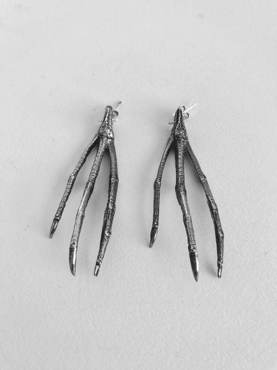 Stud Earrings Tasmanian Native Hen Claw Earrings Silver Earrings Handmade Tasmanian Gothic Jewellery