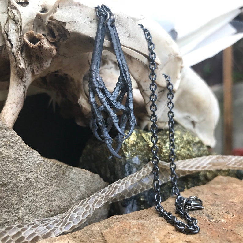 Black Silver Pendant Claw Pendant Oxidised Silver Necklace Halloween Necklace
