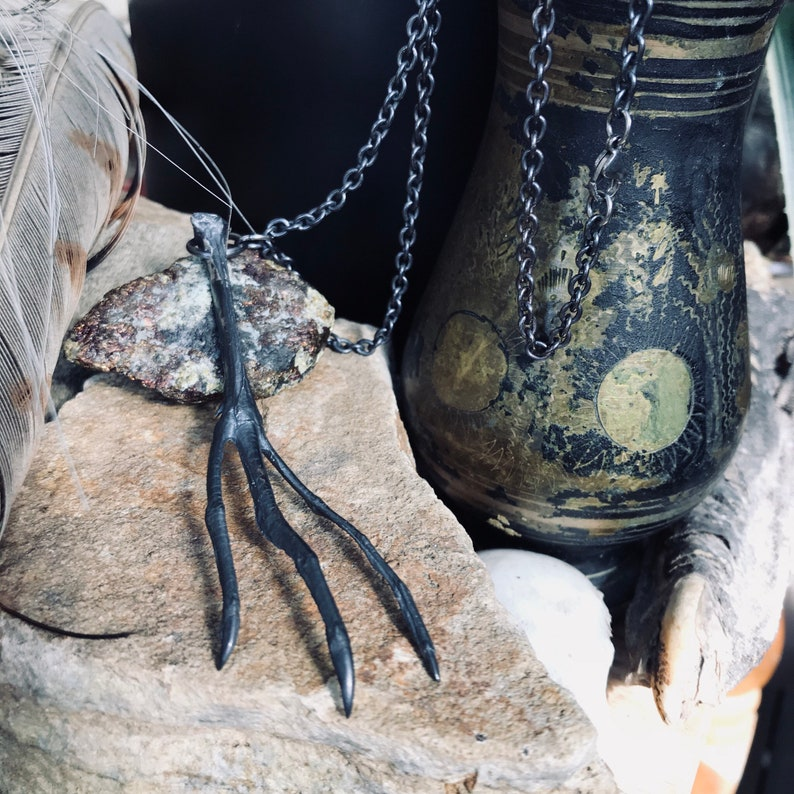 Black Silver Claw Pendant Oxidised Silver Necklace