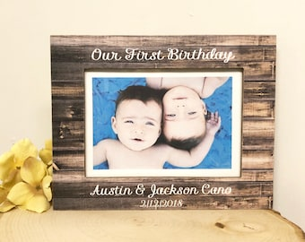 First Birthday Frame Twins Personalized Baby Gift Milestone 5x7 Picture 4x6