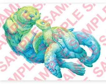 Sea Otter and Turtle A4 digital PDF download