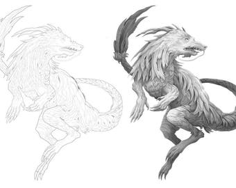 Sky Spirit colouring template - Outlines with greyscale version