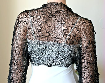 Black luxury evening bolero, Wedding effect shrug, Woman bridal luxury shrug