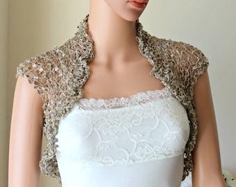 Grey bridal silk bolero, Short sleeves wedding shrug