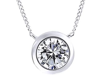 Round Cubic Zirconia Solitaire Pendant Necklace In 14K Gold Over Sterling Silver