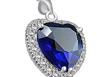 Jewel Zone US Titanic Heart The Ocean Simulated Blue Sapphire   White CZ Pendant  Necklace 925 Sterling Silver 7bae5b32f959