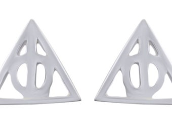 Harry Potter Deathly Hallows Stud Earrings In 14K Gold Over Sterling Silver