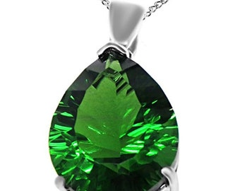 14k Gold Over Sterling Silver 4.00 Ct Millennium Cut Forest Green Simulated Helenite Pendant (4.00 Ct)