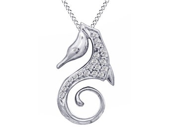 Jewel Zone US 1//10 CT White Natural Diamond Seahorse Pendant Necklace in 925 Sterling Silver 1//10 Ct