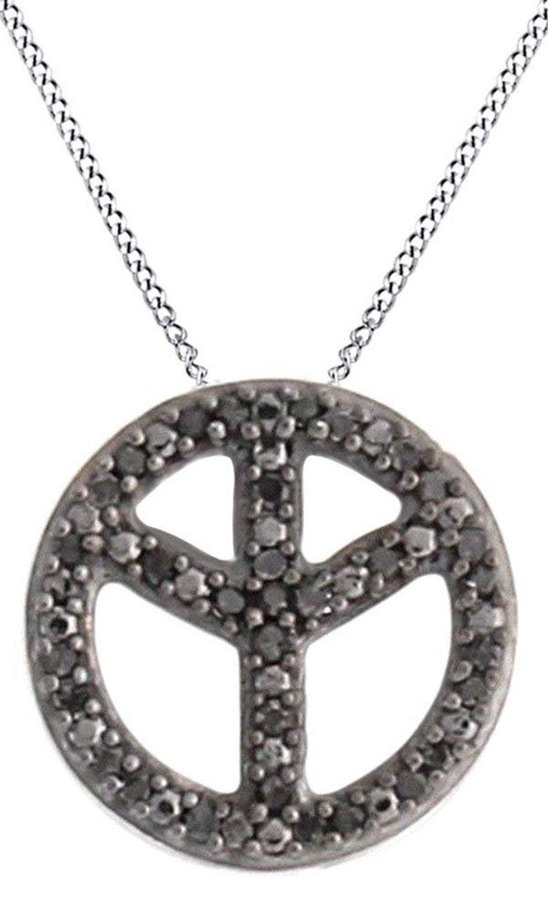 932a8d3c0993f Round Cut Black Natural Diamond Peace Sign Pendant Necklace In