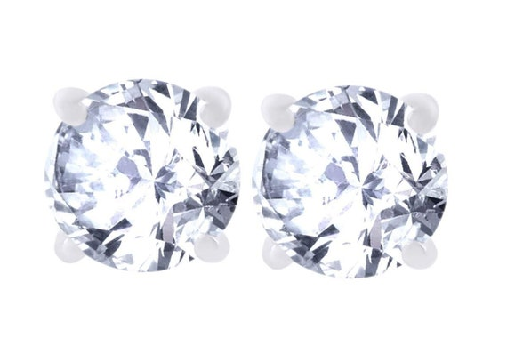 a8bd8d254b5 14k White Gold Solid Cubic Zirconia Stud Earrings in sizes