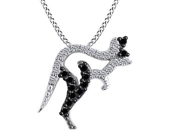 Round Black & White Cubic Zirconia Kangaroo Pendant In 14K Gold Over Sterling Silver (0.44 Cttw)