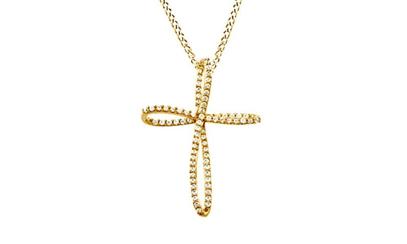 4541af05b Jewel Zone US Natural Diamond Loop Cross Pendant in 10K Solid | Etsy