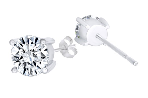 9a6eea3a6 Four Prong Round Cubic Zirconia Solitaire Stud Earrings 14k | Etsy