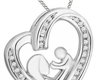 White Natural Diamond Motherly Love Heart Pendant Necklace in 925 Gold Over Sterling Silver (1/6 Ct)